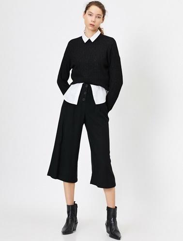 Koton Dügme Detayli Pantolon Siyah